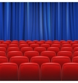 Red seats in hall with curtain vector image vector image