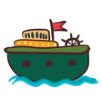round vessel with ships wheel or color vector image vector image