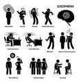 schizophrenia chronic brain disorder icons vector image