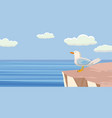 seagull on the cliff of the cliff sea background vector image