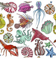 seamless pattern with hand drawn marine life vector image vector image