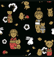 seamless pattern with kokeshi dolls vector image