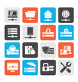 server hosting and internet icons vector image vector image