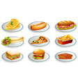 Set of fastfood on plates vector image vector image