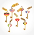 set of keys with flags vector image vector image