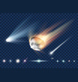 set of star comet and asteroid isolated vector image