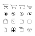 shopping and festival line icon set design eps10 vector image