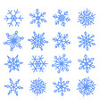 snowflakes doodle set for your christmas design vector image vector image