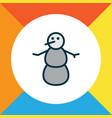 snowman icon colored line symbol premium quality vector image vector image
