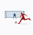 soccer player kicking ball with goalkeeper vector image vector image