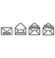 spam mail icon envelope symbol with word spam on vector image