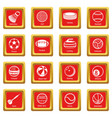 sport balls equipment icons set red square vector image