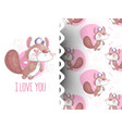 squirrel with pattern vector image vector image