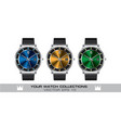 stainless steel wristwatch color gray leather vector image