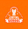 surfing school and rental summer badge vector image vector image