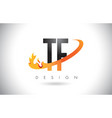 tf t f letter logo with fire flames design and vector image vector image