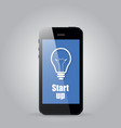 the idea of start up against the phone vector image vector image