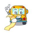 with menu school bus mascot cartoon vector image