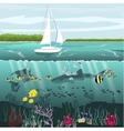 yacht and underwater scenery with marine life vector image