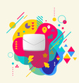 Envelope on abstract colorful spotted background vector image