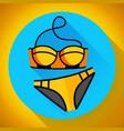 fashionable women gold swimsuit bikini icon vector image