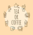 concept with coffee and tea icons vector image