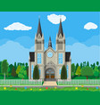 catholic church cathedral with trees and fence vector image