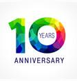 10 anniversary color facet logo vector image