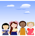 4 girls with blue peaceful skies above their heads vector image vector image