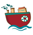 a red round steam ship or color vector image vector image