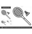 badminton line icon vector image vector image