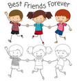 best friend doodle graphic vector image