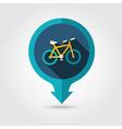 Bicycle pin map flat icon Summer Vacation vector image vector image
