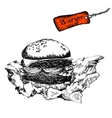 Burger in paper vector image vector image