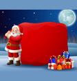 cartoon santa clause pulling big bag vector image