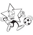 Cartoon smiling star playing soccer vector image vector image