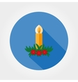 Christmas candle decorated with fir twigs and vector image
