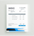 creative geometric invoice form template design vector image vector image