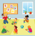 elementary school class teacher and kids vector image vector image