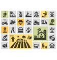 farm icons set collection elements grower vector image vector image