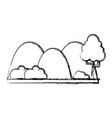 figure countains with tree and ecology landscape vector image vector image