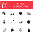 fruits solid icon set organic vegetarian food vector image