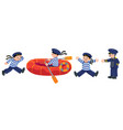 funny sailors with boat and captain set vector image vector image