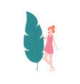 girl and big leaf isolated on white background vector image vector image