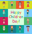 happy kids on colorful backgrounds poster vector image