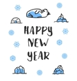 Happy new year poster with lettering Funny doodle vector image vector image