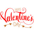 happy valentines day ornate lettering text with vector image vector image