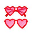 heart shaped pink eyeglasses vector image