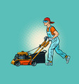 lawn mower worker profession and service vector image vector image