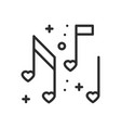 love music heart notes line icon sign and symbol vector image vector image